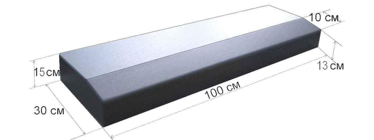Форма для бордюра Дорожный №2-А Размеры 1000х300х150 мм