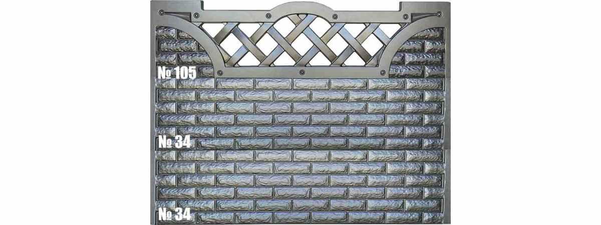 Форма для забора АБС №105 Размеры 2000х500х40 мм