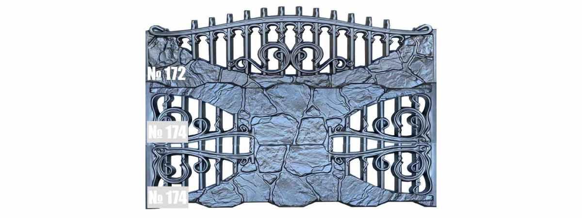 Форма для забора АБС №174 Размеры 2000х500х40 мм