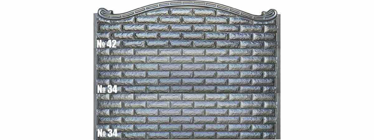 Форма для забора АБС №34 Размеры 2000х500х40 мм