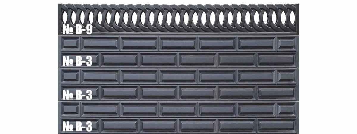 Форма для забора АБС № В-3 Размеры 3000х300х40 мм