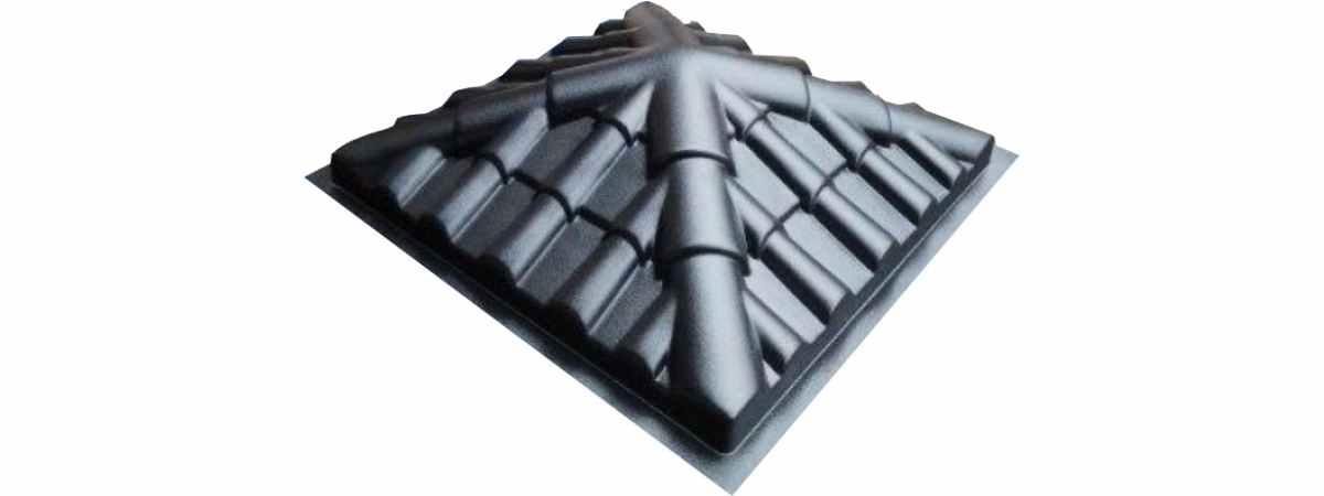 """Форма для крышки столба """"Черепица четырехскатная"""" Размеры 340х340х100 мм"""