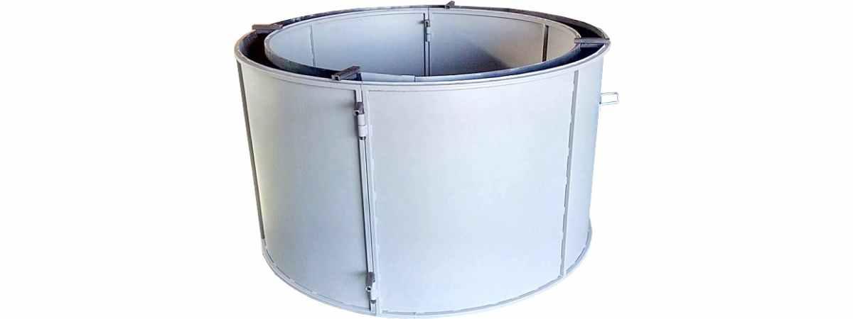 Форма кольца колодезного №7 стенка 4 мм, профильная труба 40х40 Размеры 1700/1500/890 мм