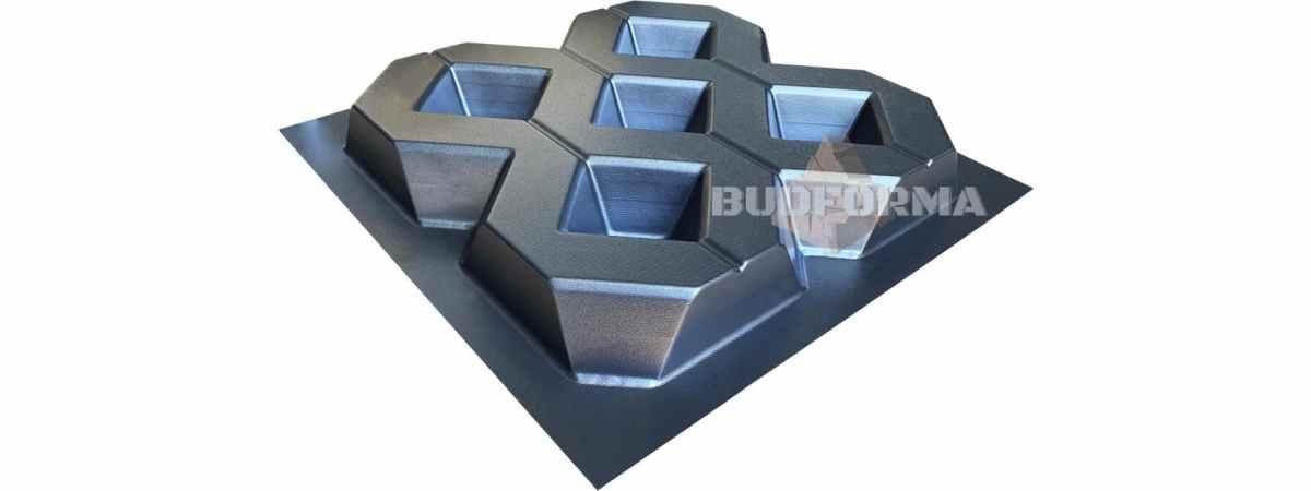 Форма для тротуарной плитки Газонная №2 Размеры 400x400x60 мм