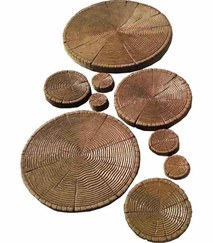 Форма для тротуарной плитки Срезы дерева - 9 шт