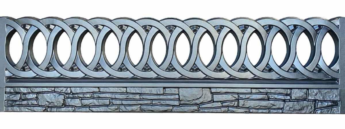 Форма для забора АБС №55 Размеры 2000х500х40 мм